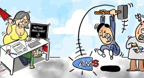 Beim AMS Mobiliar zertrümmert